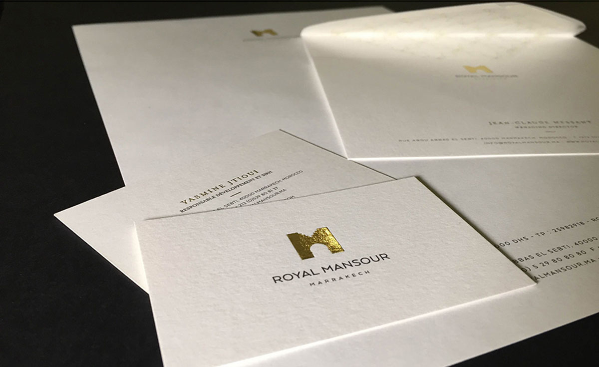 edition papeterie hotellerie identite logo royal mansour victor paris agence communication luxe